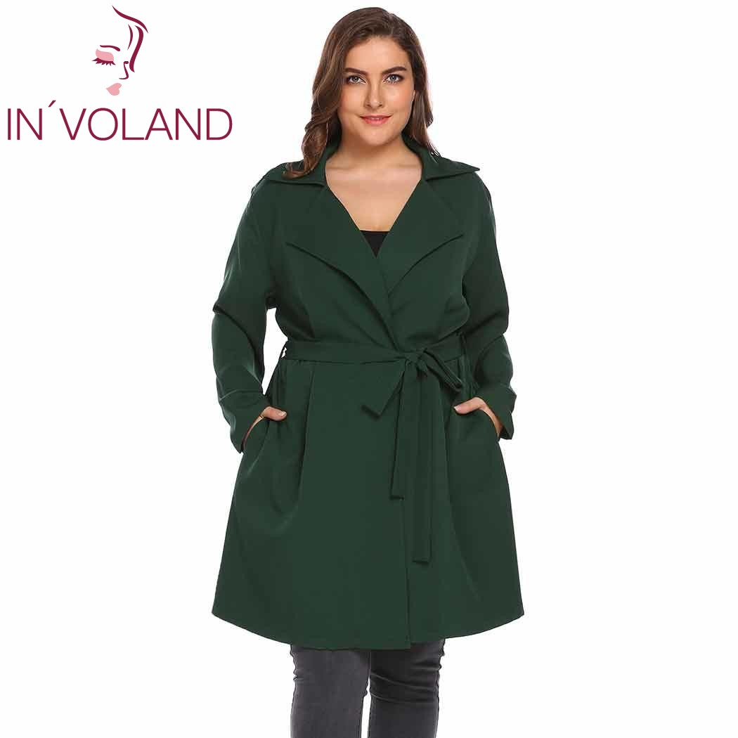 IN'VOLAND Big Size Women   Trench   Coat Windbreaker Autumn Winter Notch Lapel Long Sleeve One Button Large Overcoat Belt Big Size