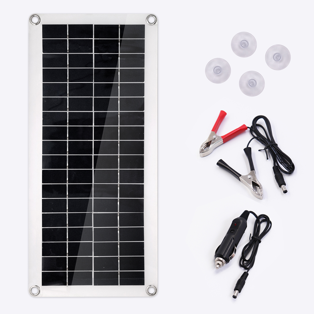 Portable 25W 12V Solar Panel Double USB Power Bank Board External Battery Charging Solar Cell Board Crocodile Clips Car Charger