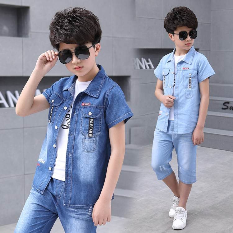 Summer 2018 boys clothes sets 3 6 8 10 15 years boy clothing set casual kids suits baby boy cowboy suit clothes and short jeans цена