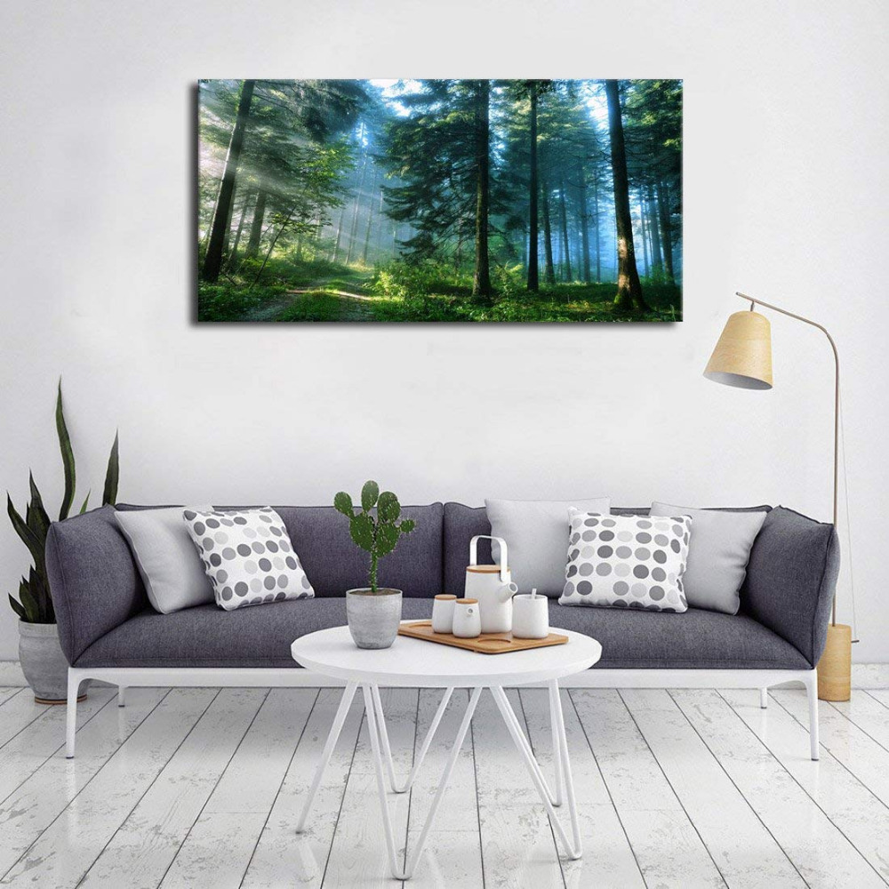Green Forest Canvas Wall Art Living Room Wall Decor Long