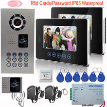 Video Intercom For Private Homes Touch Key 2 Monitors 7Inch Color Video Phone Inductive Card Doorbell Camera IP65 Waterproof Kit