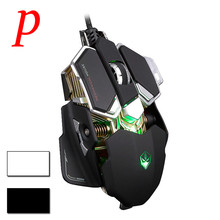 P Professional G10 4000DPI Adjustable Mechanical Programmable Gaming Mouse LED Light USB Wired Macros Mouse Gamer Mice Computer
