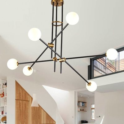 Guest room study glass ball molecules pendant lamp post-modern simple American magic beans long pipe pendant lightGuest room study glass ball molecules pendant lamp post-modern simple American magic beans long pipe pendant light