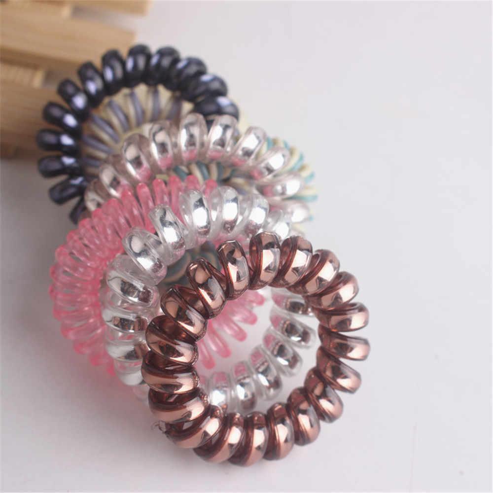 10 шт./партия эластичные резинки для волос спиральная форма головная повязка для женские головные уборы конский хвост резинка для волос резинка разноцветные волосы веревка