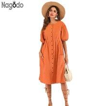 Nagodo Orange Retro rockabilly Dress 2019 New Summer Cotton Linen Long Dresses Women Lantern Sleeve Button Causal Loose