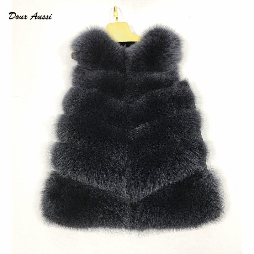 Aussi Nature Pour Mode Doux Foncé Taille Large De Bleu Réel À Noir Pardessus Plus Les Fourrure Renard Vestes Gilet Femmes La Femelle D'hiver d5YfqY