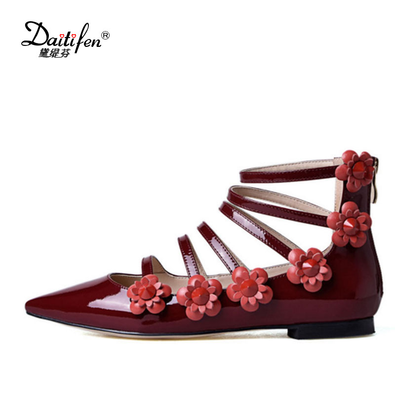 2018 Women Flats Shoes Sweet Flower Gladiator Mary Jane Flat Genuine Patent Leather Party Zipper Pointed Toe Spring Summer Flats new 2017 spring summer women shoes pointed toe high quality brand fashion womens flats ladies plus size 41 sweet flock t179