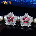 Clássico Cubic Zircon Cristal Cluster Flor de Cinco Pétalas Rosa Vermelha Pequeno Simulado Diamante Elegante Brincos Grandes Do Parafuso Prisioneiro Para As Mulheres E217