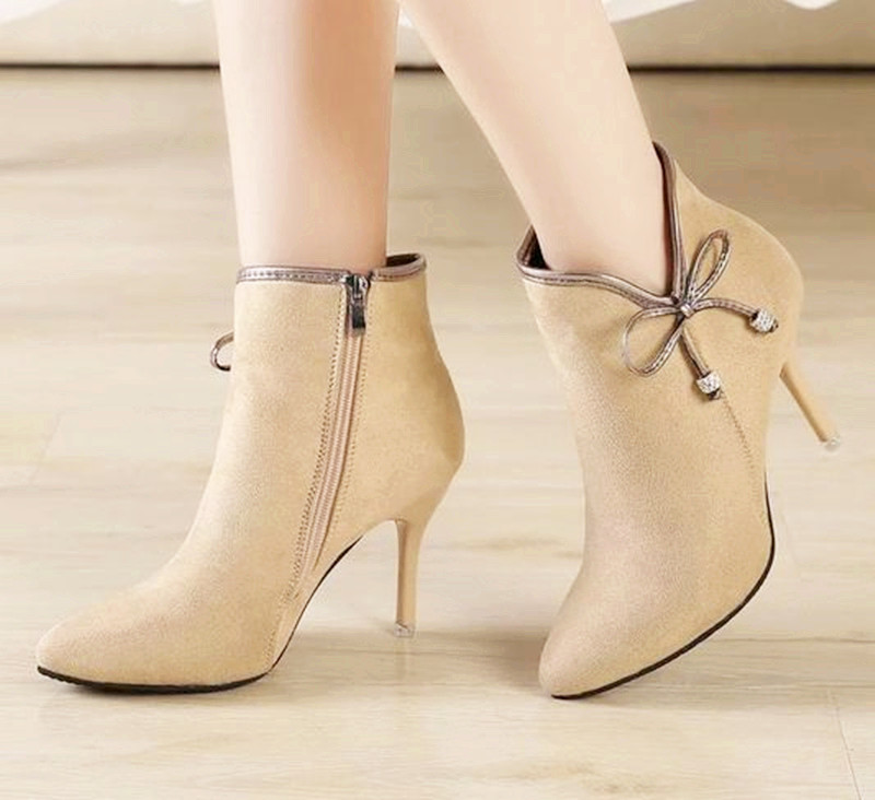 15..New 2016 Brand women boots elegant patent leather shoes woman Autumn winter ankle boots pointed toe buckle high heels boots