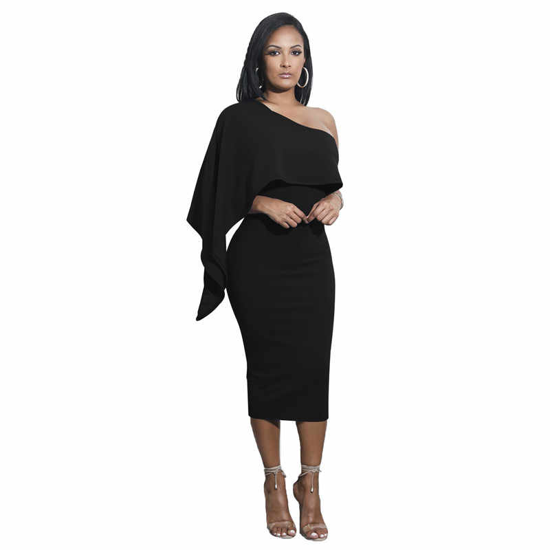 Ruffles Sleeve One Shoulder Women Sexy Pencil Dresses New Summer Solid  Color Bodycon Package Hips Dress 880b7e775b07