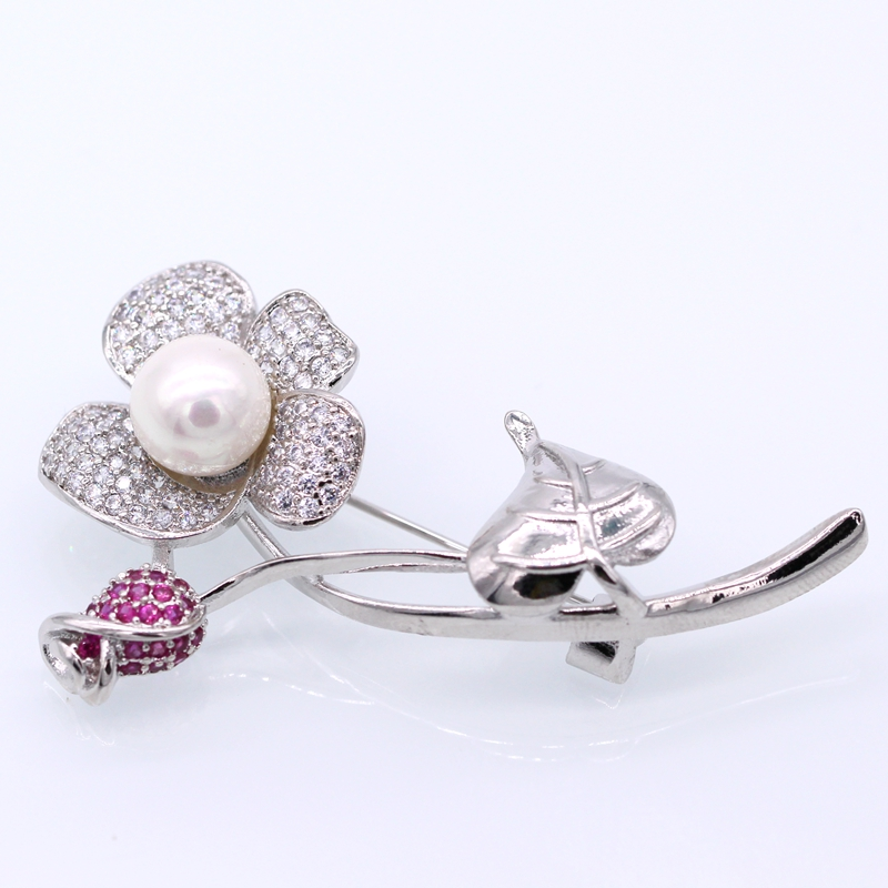 Fashion Jewelry Flower White Gold Pated Shell Pearl AAA Zircon Brooches Pins Clothes Accessories For Women Christmas Gift J01-1