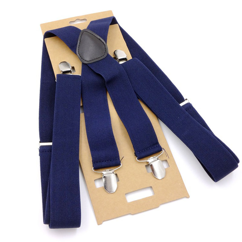 Europe And The United States Popular 4 Clip Solid Color Man Suspenders Width 3.5 Centimeters    FY18081301