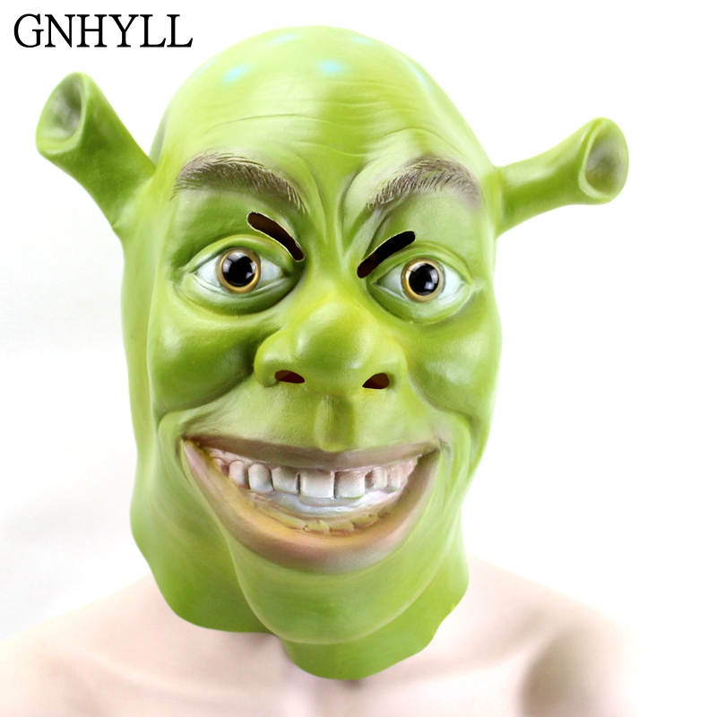 GNHYLL Green Shrek Latex Masks Movie Cosplay Prop Adult Animal Party Mask for Halloween Costume Fancy Dress Ball
