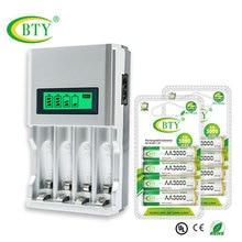 BTY Горячая батарея зарядное устройство ЖК-дисплей Интеллектуальный для AA/AAA NiCd NiMh аккумуляторная батарея+ 8 шт. AA батареи