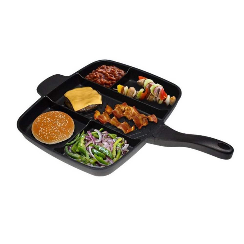 Ship from RU Five In One Multi-purpose Separation Pot Fryer Pan Non-Stick Grill Fry Oven Meal Skillet Barbecue Plate Roast Pan