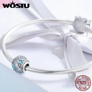 Image 3 - WOSTU 925 Sterling Silver Clear CZ Dog Footprints Bones Beads Charm Fit Original Bracelet Bangle Fine Jewelry Making Gift CQC765