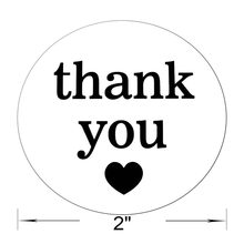 Smart 2 Inch Round Natural Paper Thank You Stickers with Black Heart 500 Adhesive Label Per Roll (1 Roll)