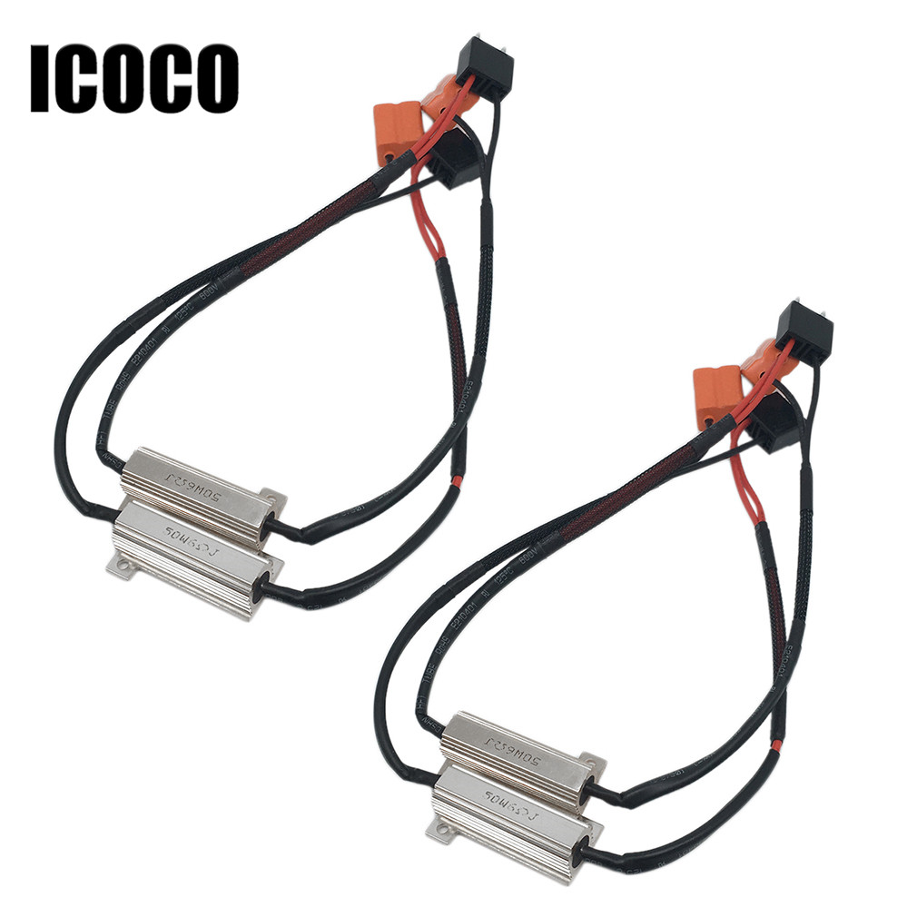 ICOCO 4X H7 50W 12V Car LED DRL Fog headlight load resistor Turn Singal Load Resistor Canbus Error Free Wiring Canceller Decoder