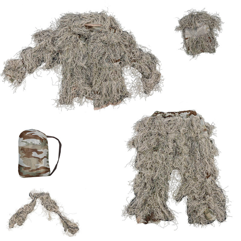 Autumn Winter reed hay grass style camouflage Desert Bionic Ghillie Suits Military Hunting Paintball Clothes five