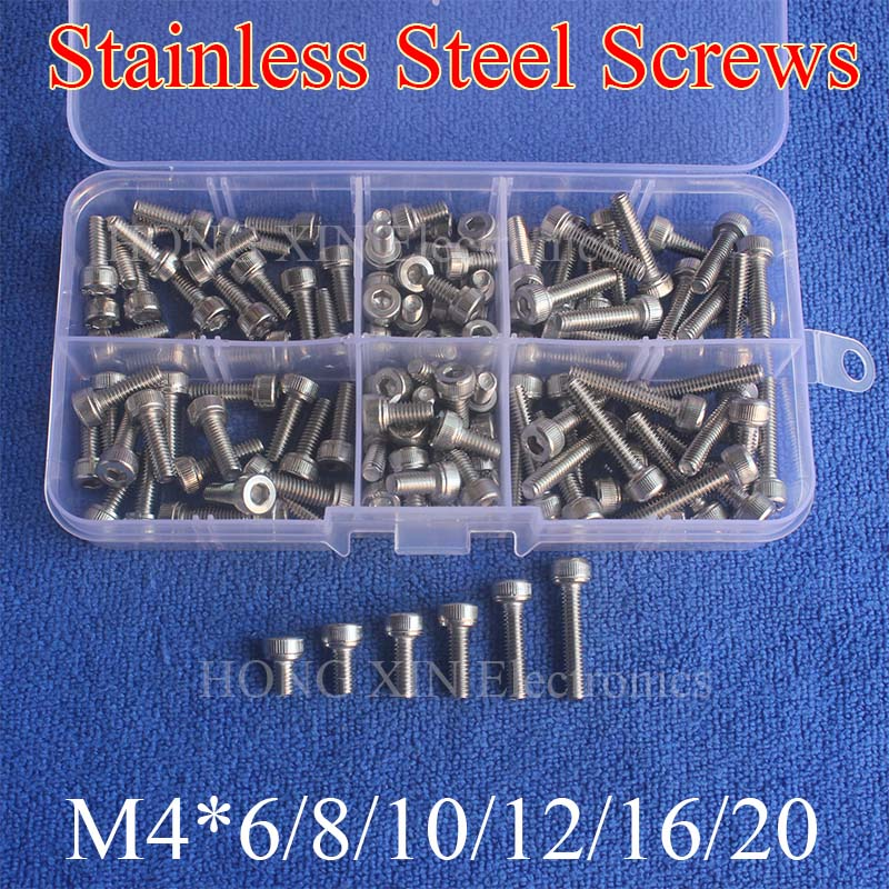 120Pcs/set M4 Stainless Steel Hex Socket Head Cap Screws M4 Screw Accessories Kit Hardware Wholesale jewelrypalace 2 55ct natural lemon quartz halo ring stud earrings pendant neckalce chain 45cm 925 sterling silver jewelry sets