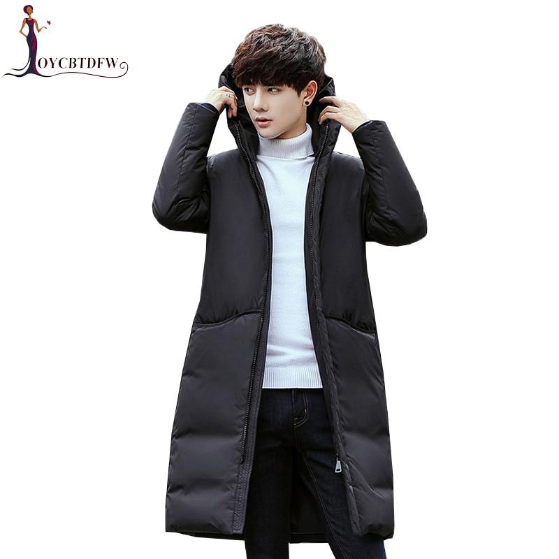Men Hot Sale   Down   Jacket Long Warm Parka Trend Korean Slim   Coat   2018 New Thicken Winter Large Size Hooded Outerwear Male Xy543