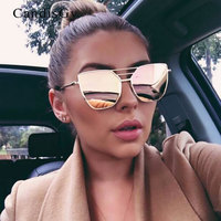 Flat Top Rose Gold Men Women Mirror Sunglasses Fashion Brand Designer Cool Sun Glasses wholesale Female 2017 New YB59