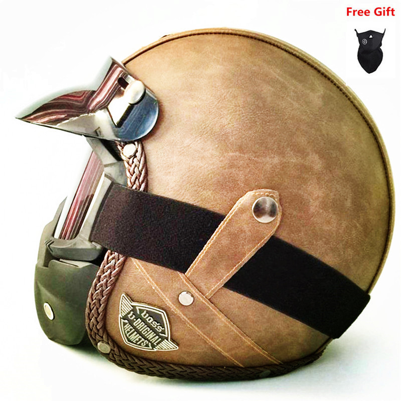HOT Open Face helmet motorcycle 2018 mask DOT approved visor PU leather vintage Motorbike Headgear Casque Casco Harley helmet(China)