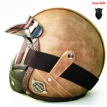 HOT Open Face helmet motorcycle 2018 mask DOT approved visor PU leather vintage Motorbike Headgear Casque Casco Harley helmet цена