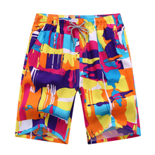 Summer Men Casual Beach Shorts New Flower Print Elastic Waist Mens Board Quick Dry Sweatpants Male