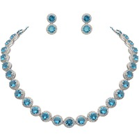 BELLA Fashion Blue/Brown Silver Plated Necklace Set Cubic Zircon Bridal Jewelry Set Round Stud Earrings Bridesmaid Girl