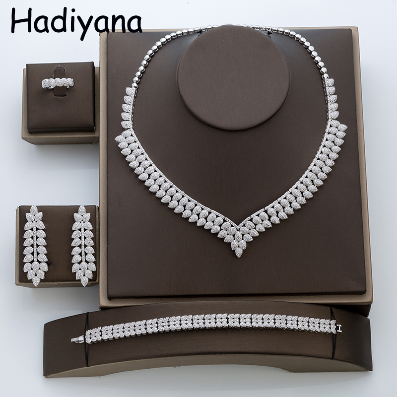 Hadiyana Fashion Cubic Zirconia Jewelry Set Women Copper Necklace Wedding Jewelry Set Bijoux Women 4pcs Jewelry