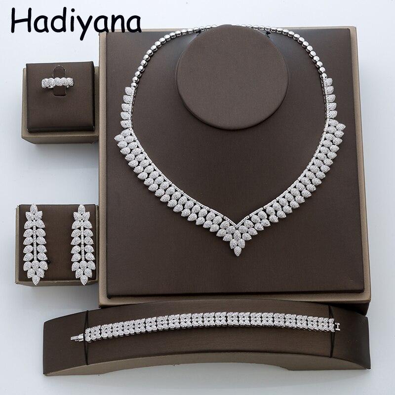 Hadiyana модный кубический цирконий комплект ювелирных изделий Для женщин Медь свадебное ожерелье комплект Bijoux Для женщин 4 шт комплекты ювели...
