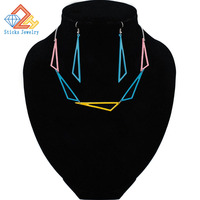 Alloy Triangle Necklace Earring Set Paint Factory Price Hot Fashion Casual Personality Hip HOP Jewelry