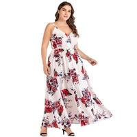 Bohemian Women Plus Size Floral Print Long Dress V Neck Spaghetti Strap Split Lady Holiday Beach Maxi Dress Women vestidos White