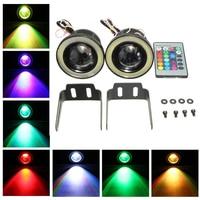 KaTur 2pcs High Power 3 5 Projector Universal RGB LED Fog Light White COB Halo Angel
