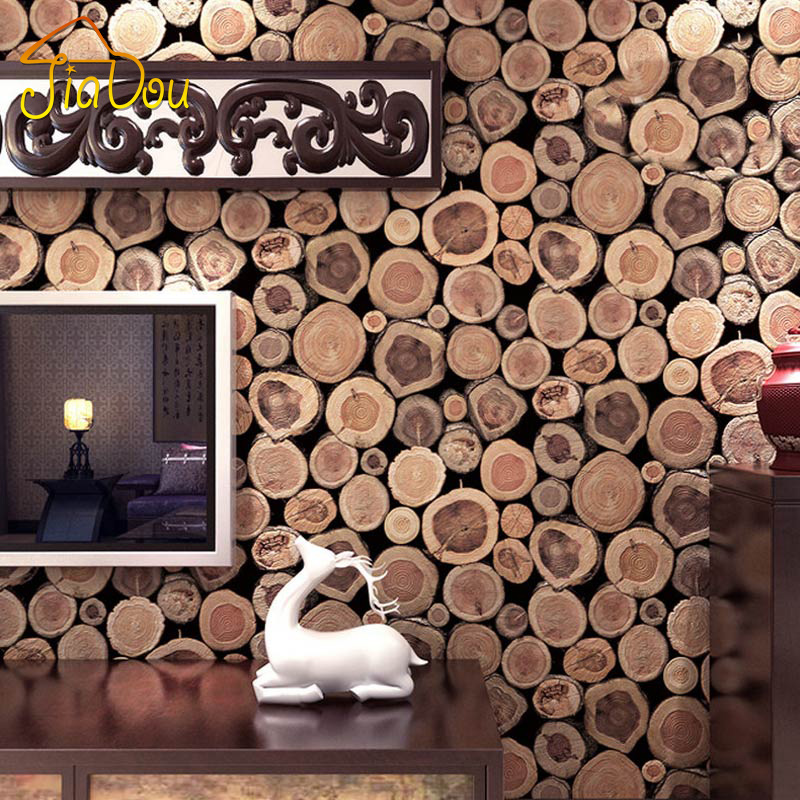 Super thick 3d wood log texture embossed pvc waterproof for Waterproof wallpaper for walls