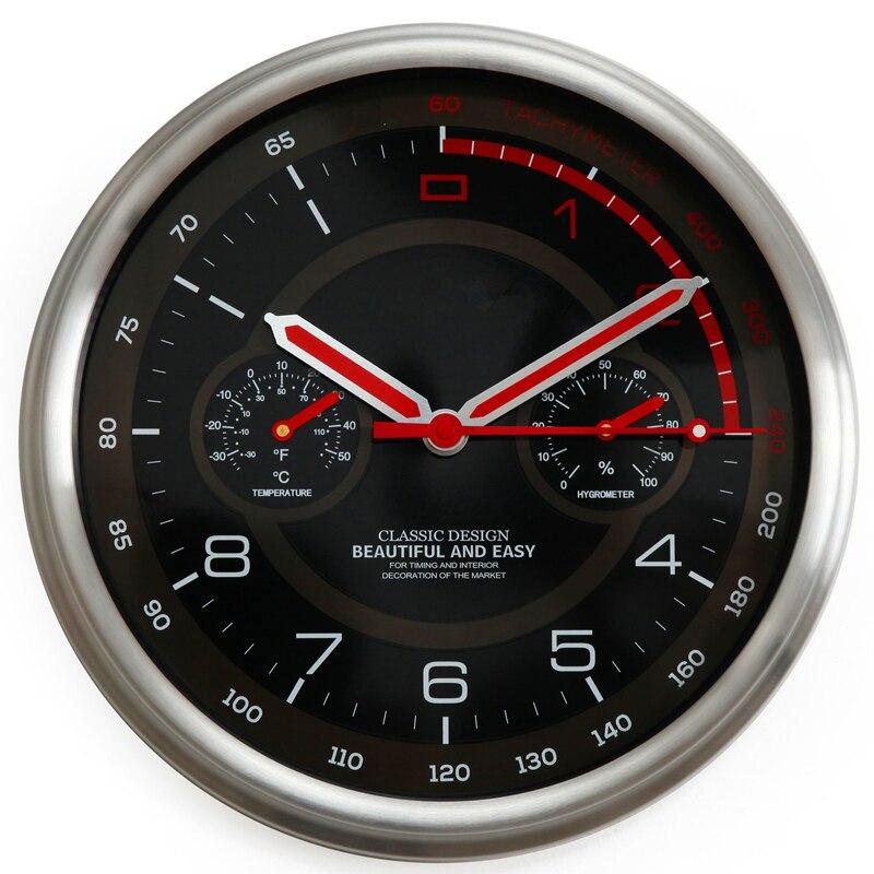 Horloge murale moderne en métal thermomètre hygromètre Auto Pow patrouille Guess montre montres mécanisme Relogio Parede cadeau d'anniversaire 50ZB35