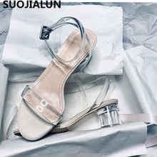 купить 2019 Summer Fashion Women's Sandals transparent Crystal PVC Women Shoes Rome Sandals High Heel Open-toe Women Shoes по цене 2129.14 рублей