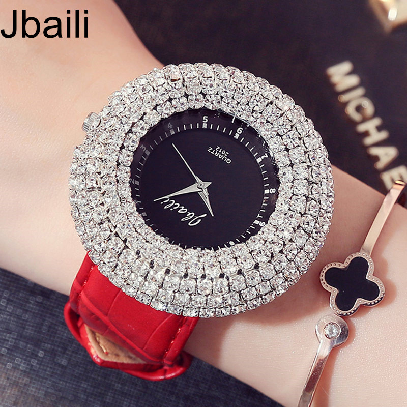 2017 New Fashion Shining Crystal Diamond Dial Leather Band Quartz Women Watch Luxury Top Brand Unique Dress Ladies Wrist Watches elegant design bling diamond sands dial women watches fashion female dress watch rebirth luxury brand leather quartz clock gifts