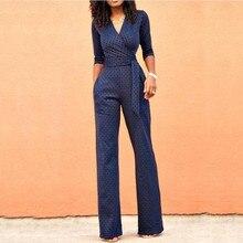 Combinaison роковой Половина рукава Bodycon брюки комбинезон с v-образным вырезом Высокая талия широкие брюки тела Feminino Playsuit Боди женские