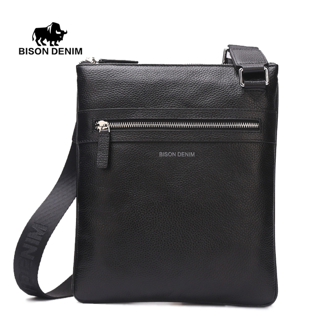 Bison denim dos homens ombro saco saco do mensageiro do couro genuíno satchel ipad tablet preto macio fina casual masculino pacote n2424-1b