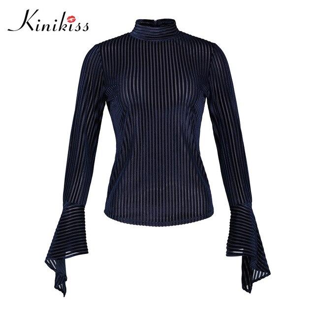 c04b8e17096162 Kinikiss Women Blue Stripe Shirts Tops 2018 Spring Velvet Patchwork Flare  OL Long Sleeve Blouse Ladies Office Stand Collar Shirt