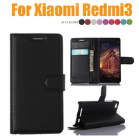 Luxury Wallet PU Leather Flip Case For Xiaomi Redmi 3 Card Holder Stand Cover For Redmi3 Case Cover Protection Free Shipping