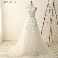 Angel Novias Long Cheap A Line Wedding Dresses 2018 Spring Boho Bridal Gowns Vestidos De Noiva