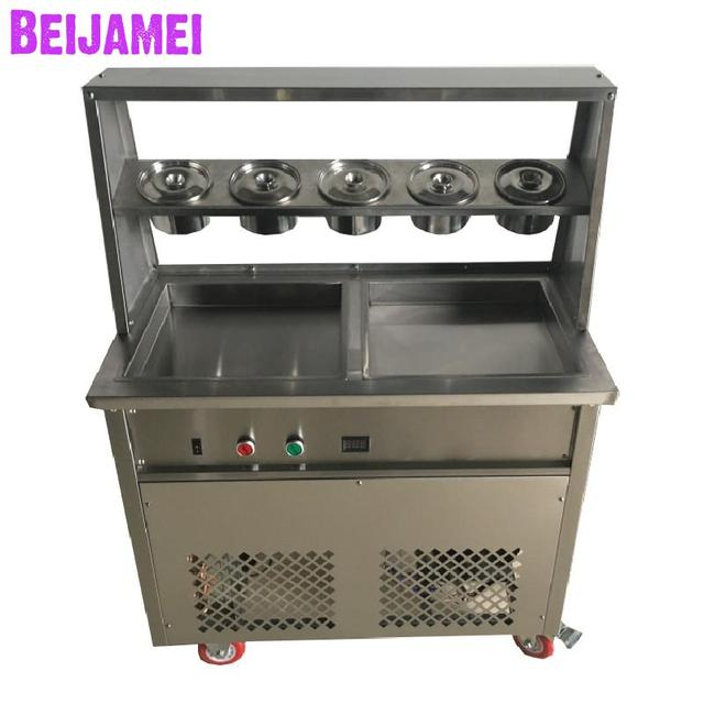 BEIJAMEI New Conditioner fried rolled ice cream maker 110v 220v double square pan frozen rolling ice cream machine price