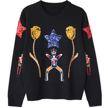 high quality women's woollen wool embroidery beading sweater fashion knitted black thick pullover jumper sweater