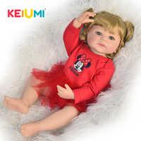 Nieuwe Aankomst 22 Inch Reborn Poppen Hele Siliconen Body 55 Mode Realistische Prinses Speelgoed Baby Voor Kid Verjaardagscadeau goud Haar