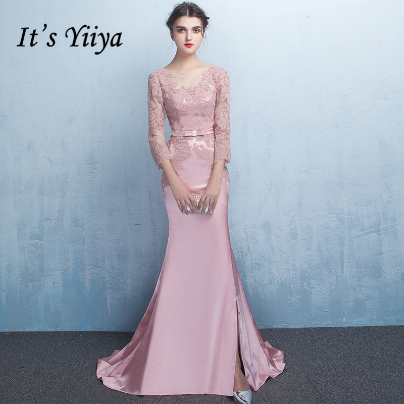 It's YiiYa Full Sleeve Prom <font><b>Dresses</b></font> Simple Lace Up Floor Length <font><b>Sex</b></font> Backless Mermaid Satin Luxury <font><b>Evening</b></font> Gowns LC037 image