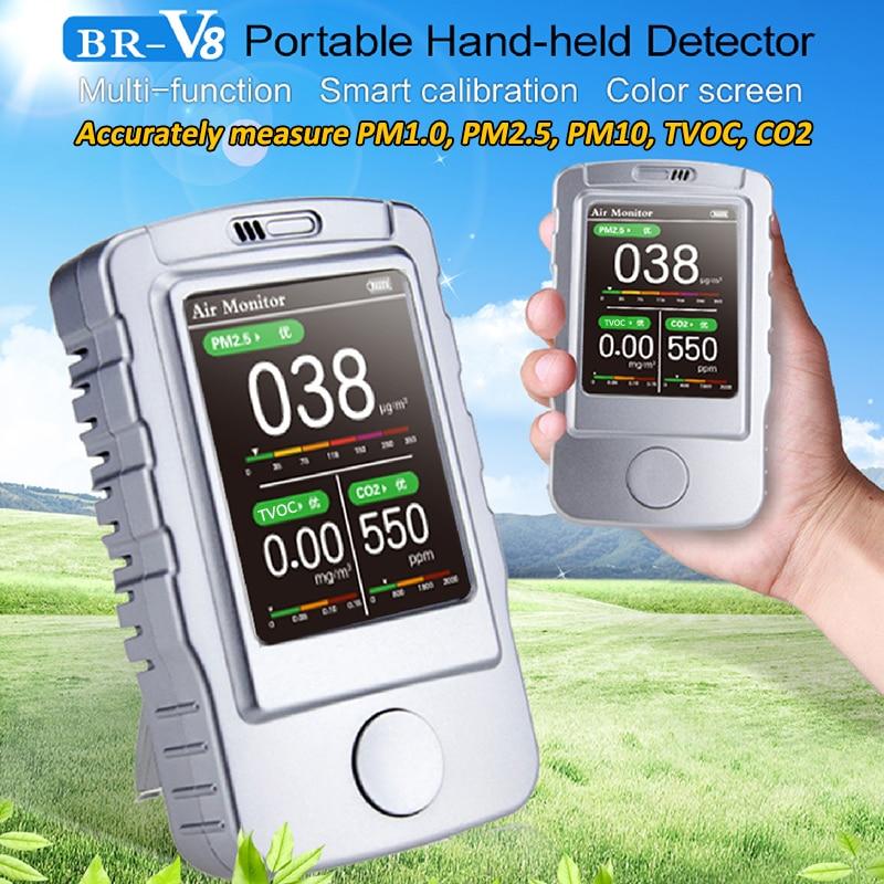 Multi-função de Laser Detector de Gás Inteligente Monitor de Qualidade Do Ar Co2 5 Calibração Hand-held Portátil Monitor De Detector De Ar em 1 CO2