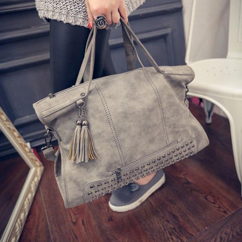 Rivet Vintage PU Leather Female Handbag Fashion Tassel Messenger Bag Women Shoulder Bag Larger Top Handle Travel Bag in Shoulder Bags from Luggage Bags